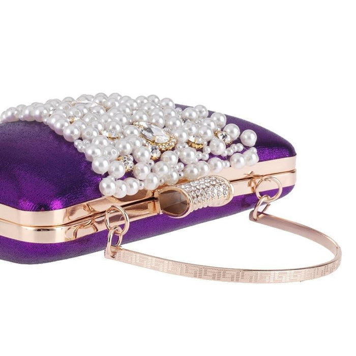 Special V Design Beaded Chain Wedding Handbags | Bridelily - purple - wedding handbags