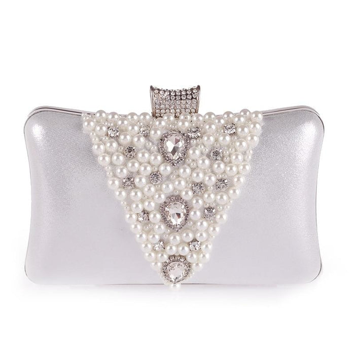 Special V Design Beaded Chain Wedding Handbags | Bridelily - silver - wedding handbags