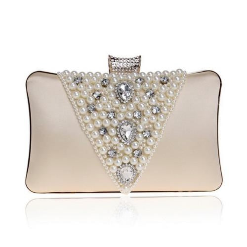 Special V Design Beaded Chain Wedding Handbags | Bridelily - gold - wedding handbags