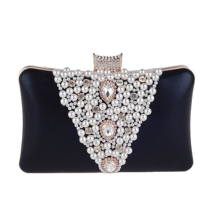 Special V Design Beaded Chain Wedding Handbags | Bridelily - black - wedding handbags