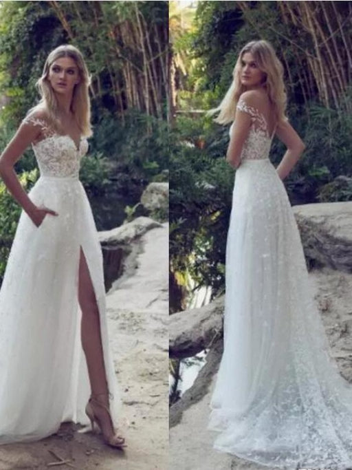 Split Lace Applique Sweep Train A Line Wedding Dresses - wedding dresses