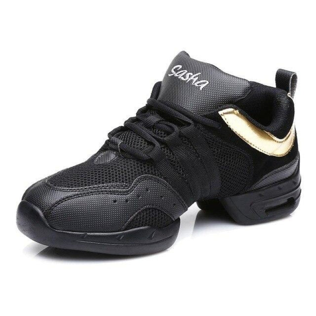 Sports Feature Sneakers Modern Latin Dance Shoes | Bridelily - Gold / 3.5 - jazz dance shoes