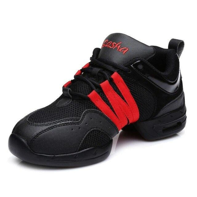 Sports Feature Sneakers Modern Latin Dance Shoes | Bridelily - Red / 3.5 - jazz dance shoes