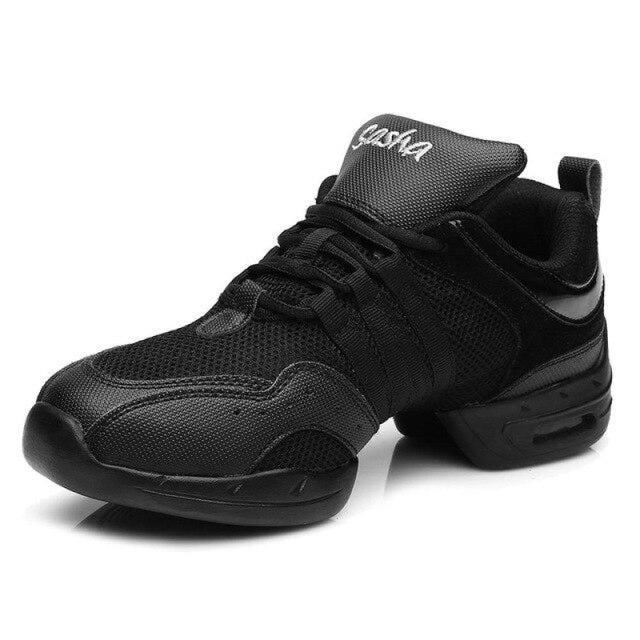 Sports Feature Sneakers Modern Latin Dance Shoes | Bridelily - Black / 3.5 - jazz dance shoes
