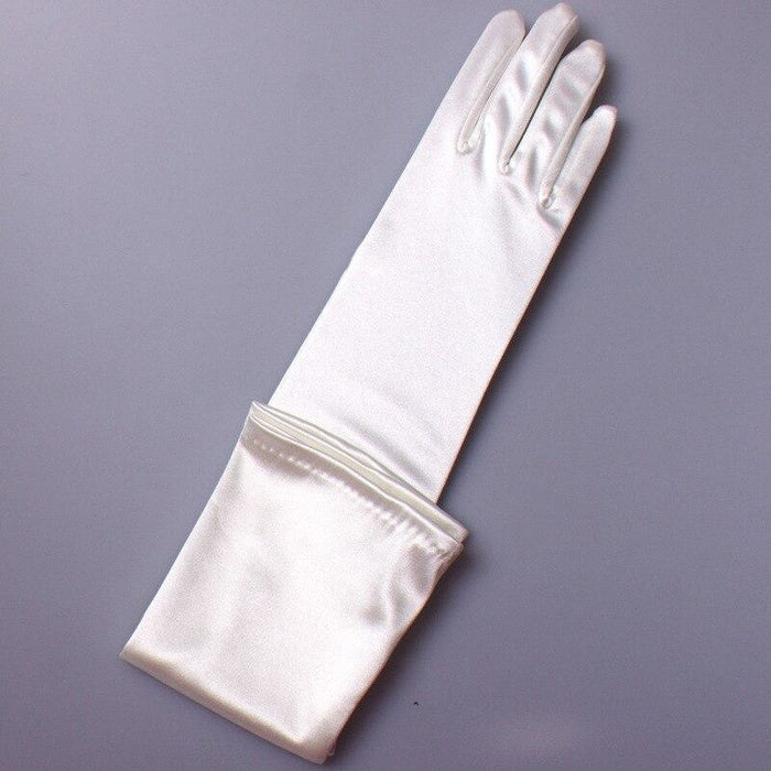 Stock Satin Elbow Length Long 48cm Wedding Gloves | Bridelily - WHITE - wedding gloves