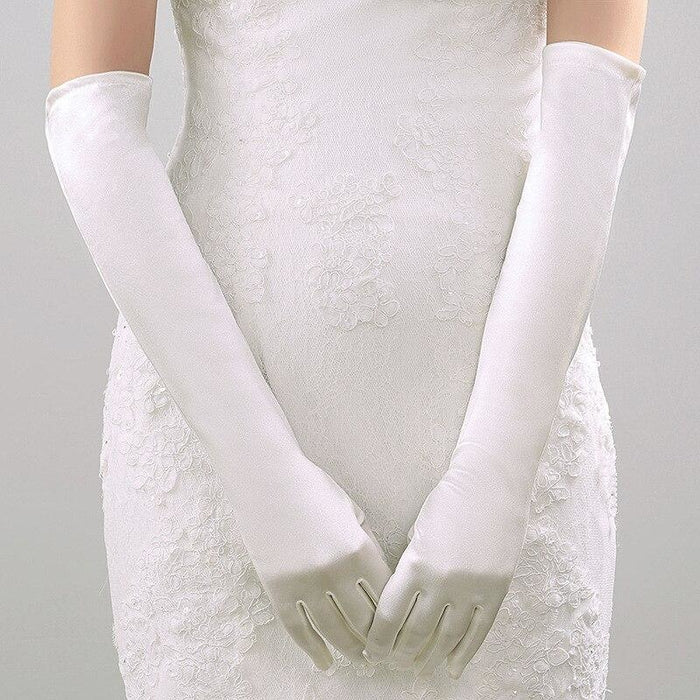 Stock Satin Elbow Length Long 48cm Wedding Gloves | Bridelily - wedding gloves