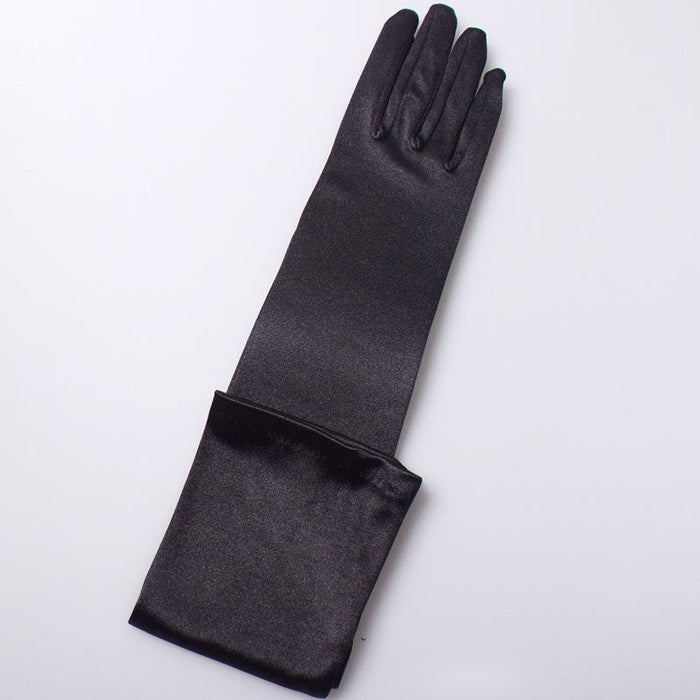 Stock Satin Elbow Length Long 48cm Wedding Gloves | Bridelily - Black - wedding gloves