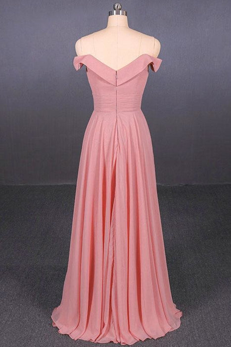 Strapless Floor Length Chiffon Pink Prom Simple A Line Bridesmaid Dress - Prom Dresses