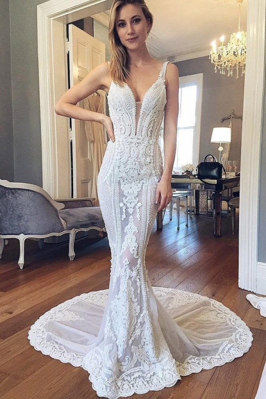 Straps Mermaid Deep V-neck Sleeveless Backless Tulle Beach Wedding Dress - Wedding Dresses