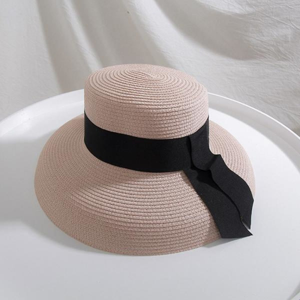 Straw Boater With Ribbon Tie Beach/Sun Hats | Bridelily - Pink - beach/sun hats