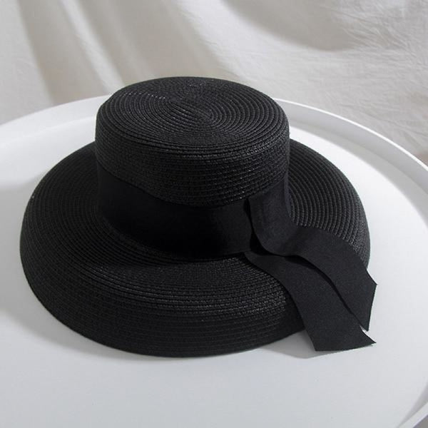 Straw Boater With Ribbon Tie Beach/Sun Hats | Bridelily - Black - beach/sun hats
