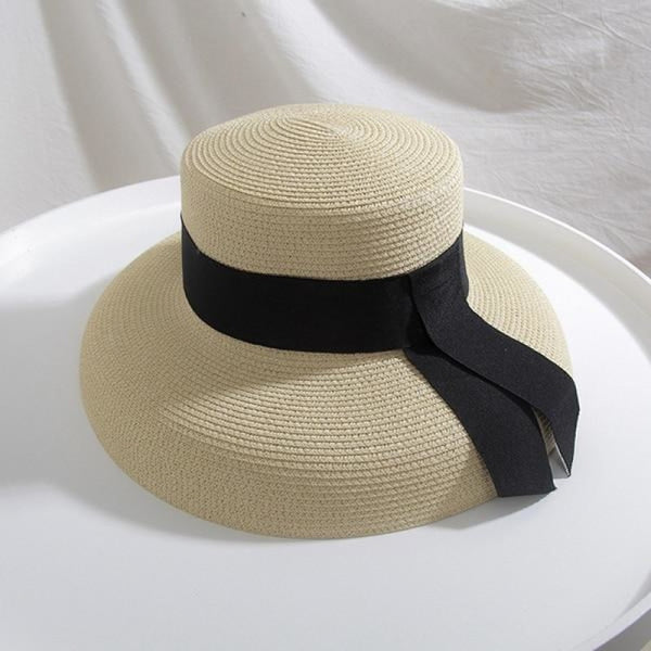 Straw Boater With Ribbon Tie Beach/Sun Hats | Bridelily - Beige - beach/sun hats