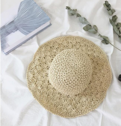 Straw Crochet Hollow Foldable Dome Beach/Sun Hats | Bridelily - 2beige - beach/sun hats