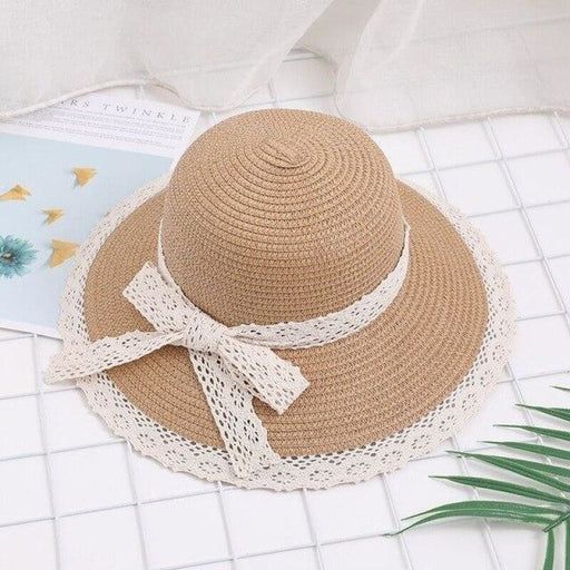 Straw Lace Bow Wide Brim Side Bowler/Cloche Hats | Bridelily - bowler/cloche hats