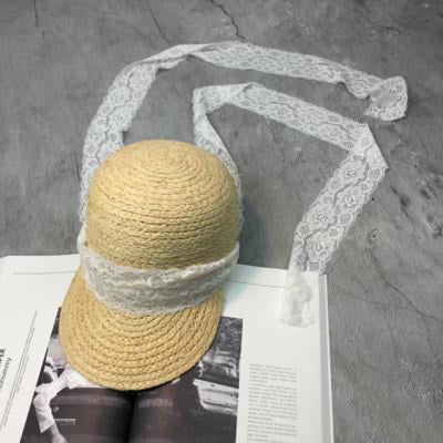 Straw Lace Up Ribbon Raffia Bowler/Cloche Hats | Bridelily - white - bowler/cloche hats