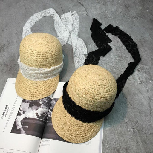 Straw Lace Up Ribbon Raffia Bowler/Cloche Hats | Bridelily - bowler/cloche hats