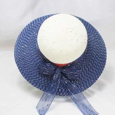 Straw Ribbon Bowknot Wide Brim Bowler/Cloche Hats | Bridelily - Navy - bowler/cloche hats