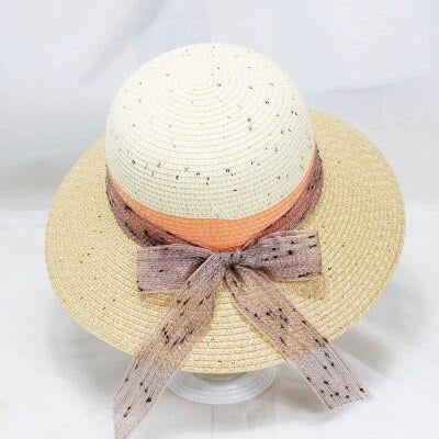 Straw Ribbon Bowknot Wide Brim Bowler/Cloche Hats | Bridelily - khaki - bowler/cloche hats