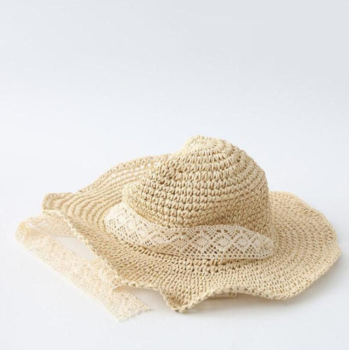 Straw Sun Lace Ribbon Bow Foldable Floppy Hats | Bridelily - floppy hats