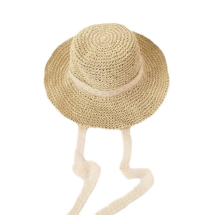 Straw Sun Lace Ribbon Bow Foldable Floppy Hats | Bridelily - 1Beige - floppy hats