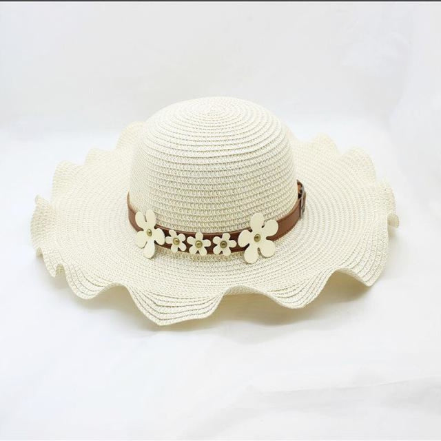 Straw Woven Large Brim Flowers Beach/Sun Hats | Bridelily - Milk white - beach/sun hats