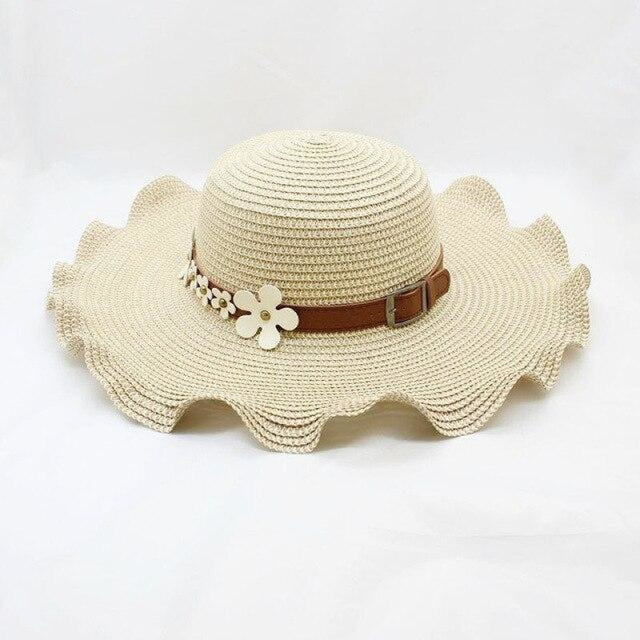 Straw Woven Large Brim Flowers Beach/Sun Hats | Bridelily - beige - beach/sun hats