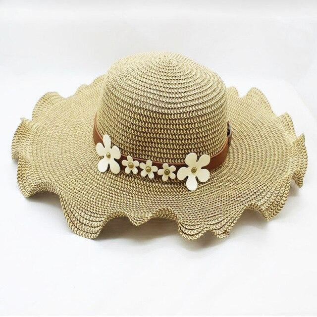 Straw Woven Large Brim Flowers Beach/Sun Hats | Bridelily - Khaki - beach/sun hats