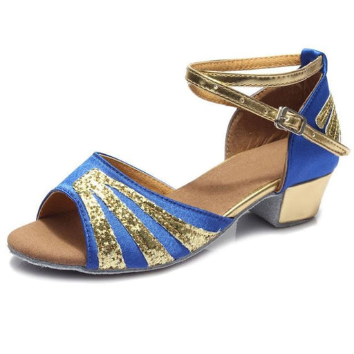 Streamlined Sequin Low Heel Ballroom Dance Shoes | Bridelily - Blue / 12.5 - ballroom dance shoes