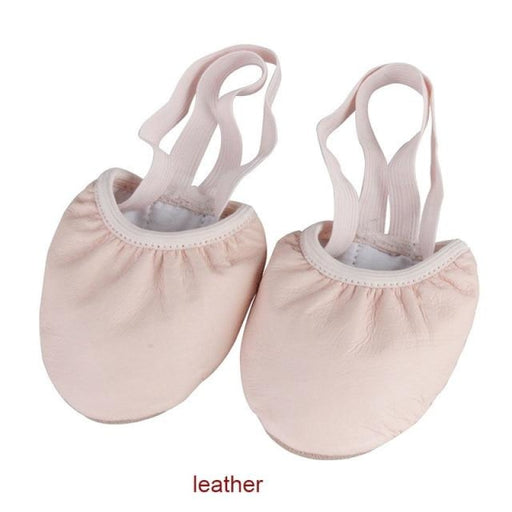 Stretch Soft PU Half Sole Ballet Dance Shoes | Bridelily - beige leather / 4.5 - ballet dance shoes