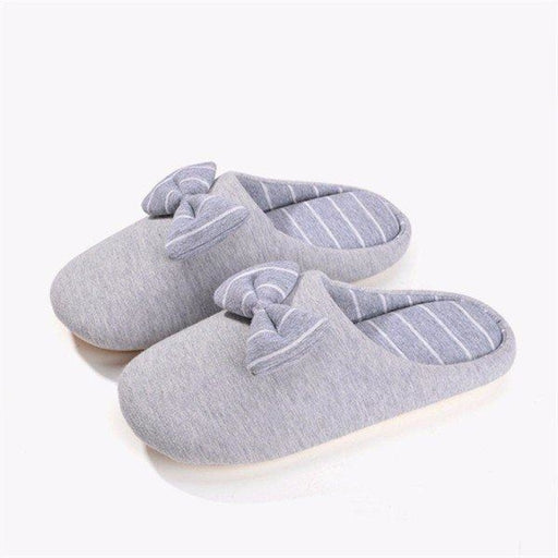 Stripe Home Indoor Bowknot Flat Slip On Warm Winter Slippers - home shoes