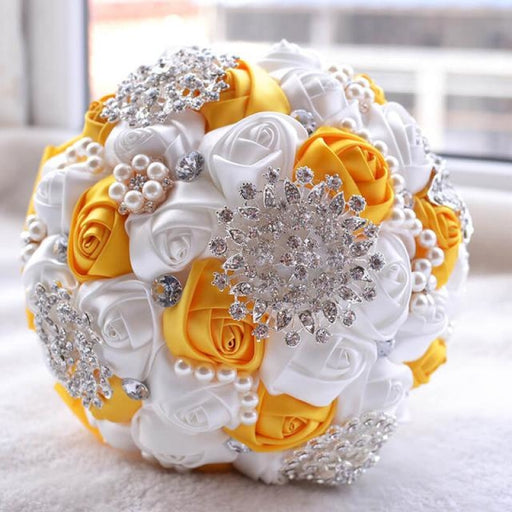 Stunning Beaded Handmade Wedding Flowers | Bridelily - Yellow - wedding flowers