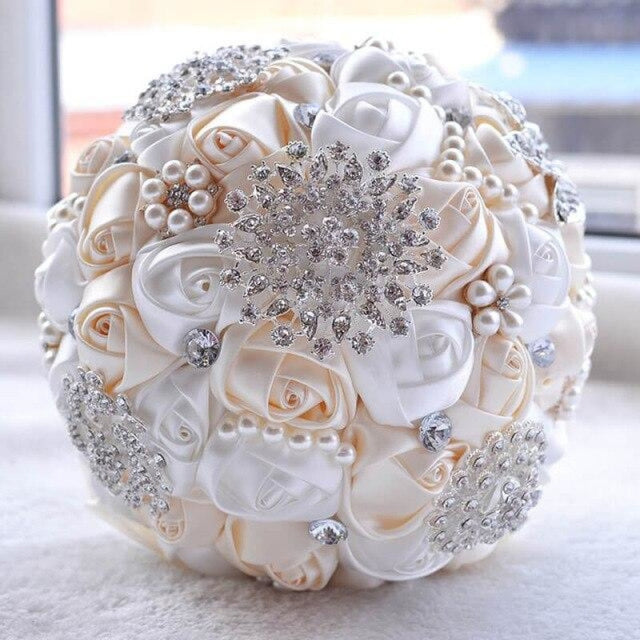 Stunning Beaded Handmade Wedding Flowers | Bridelily - ivory - wedding flowers