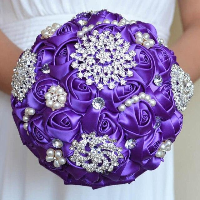 Stunning Beaded Handmade Wedding Flowers | Bridelily - Purple - wedding flowers