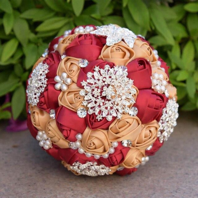 Stunning Beaded Handmade Wedding Flowers | Bridelily - Red - wedding flowers
