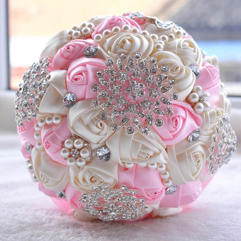 Stunning Beaded Handmade Wedding Flowers | Bridelily - Pink - wedding flowers