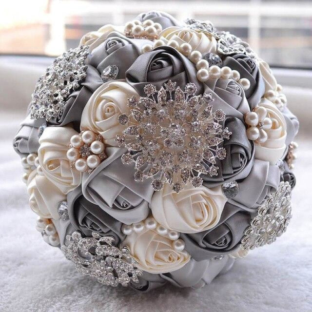 Stunning Beaded Handmade Wedding Flowers | Bridelily - Gray - wedding flowers