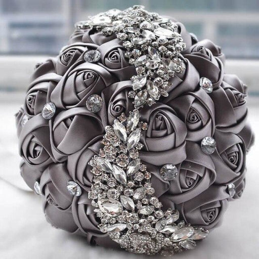 Stunning Crystals Flower Wedding Bouquets | Bridelily - Gray - wedding flowers