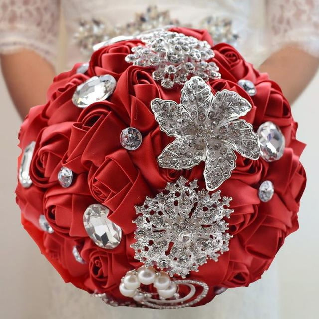 Stunning Crystals Flowers Wedding Bouquets | Bridelily - red - wedding flowers
