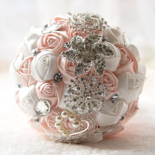 Stunning Crystals Flowers Wedding Bouquets | Bridelily - light pink ivory - wedding flowers