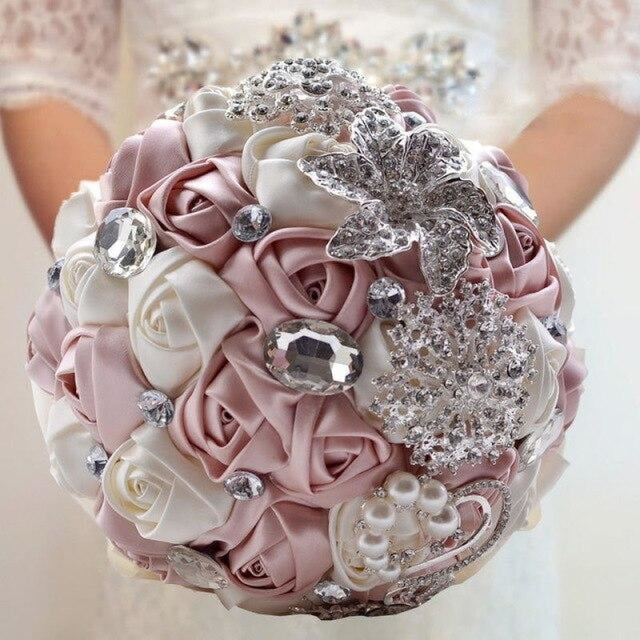 Stunning Crystals Flowers Wedding Bouquets | Bridelily - champagne - wedding flowers