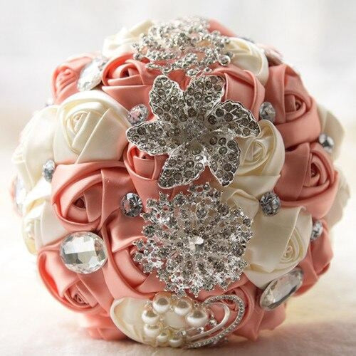 Stunning Crystals Flowers Wedding Bouquets | Bridelily - peach pink - wedding flowers