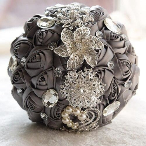 Stunning Crystals Flowers Wedding Bouquets | Bridelily - gray - wedding flowers