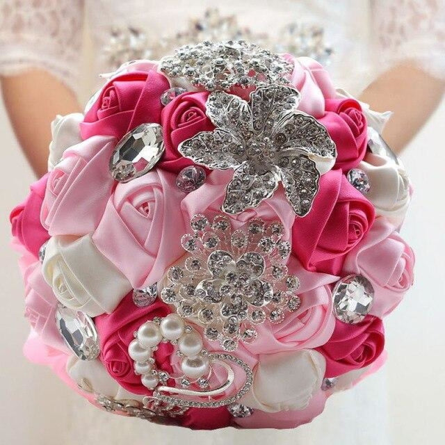 Stunning Crystals Flowers Wedding Bouquets | Bridelily - pink - wedding flowers