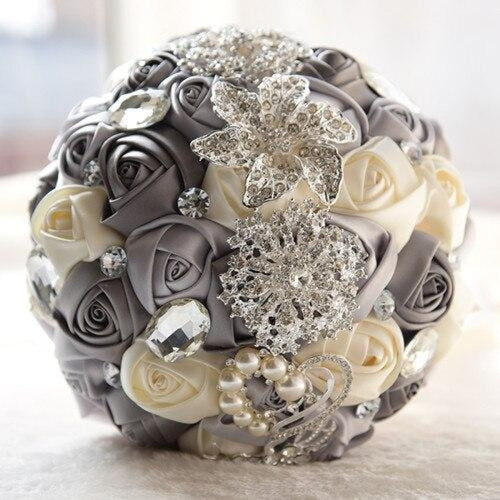 Stunning Crystals Flowers Wedding Bouquets | Bridelily - light gray ivory - wedding flowers