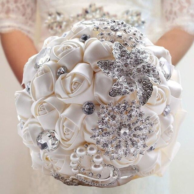 Stunning Crystals Flowers Wedding Bouquets | Bridelily - ivory - wedding flowers