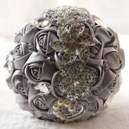 Stunning Crystals Flowers Wedding Bouquets | Bridelily - light gray - wedding flowers