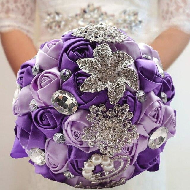 Stunning Crystals Flowers Wedding Bouquets | Bridelily - purple - wedding flowers
