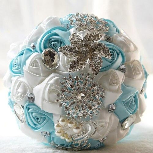 Stunning Crystals Flowers Wedding Bouquets | Bridelily - blue - wedding flowers