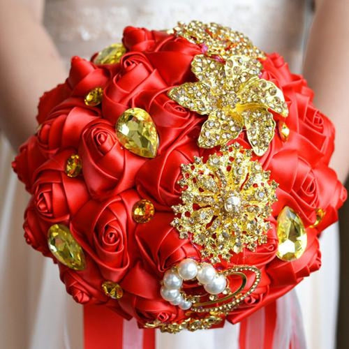 Stunning Crystals Flowers Wedding Bouquets | Bridelily - golden red - wedding flowers