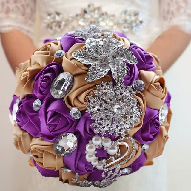 Stunning Crystals Flowers Wedding Bouquets | Bridelily - purple champagne - wedding flowers